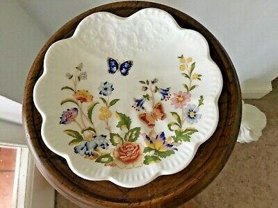 Aynsley Bone China Cottage Garden Floral Scalloped Edge Trinket Dish Small Plate • 5£