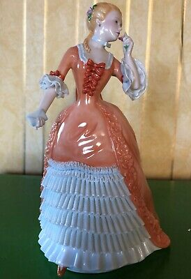Franklin Mint Figurine A Rose For Genevieve Porcelain 1985 Perfect Orange Dress • 34.99£