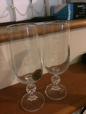 HAPPY BIRTHDAY CHAMPAGNE FLUTES-engraved By Rowton Crystal-bargain Buy • 4.99£
