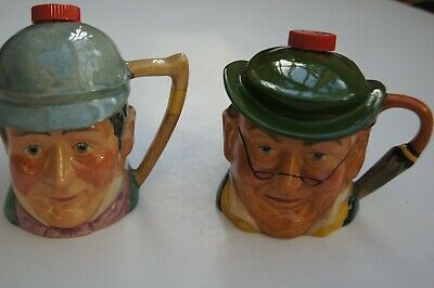 Two Vintage Kelsboro Mr Pickwick & Mr Winkle Pots With Red Tops • 7£