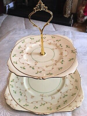 Vintage GRAFTON Roslyn Dainty Green Leaves Bone China 2 Tier Cake Plate Stand • 9.99£