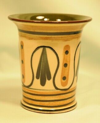 Babbacombe Pottery Vase Decorated In Sandy Brown & Black Lines + Arrows Good Con • 8£
