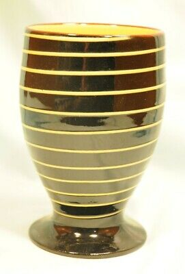 Babbacombe Pottery Medium Vase In Black With Yellow Continous Line Around Very G • 8£