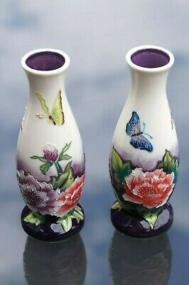 Pair Of Old Tupton Ware Ceramic Butterfly And Flower Vases • 7£
