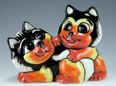 Lorna Bailey THE PLAYFUL PAIR CATS GOLD SIGNED COLOURWAY PROTOTYPE • 95£