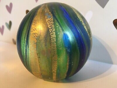 Isle Of Wight Glass Paperweight Iridescent Shades Of Blue  • 11.90£