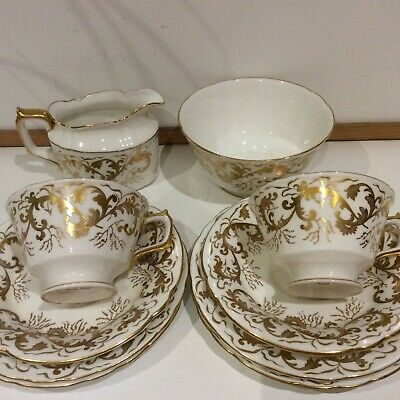 Vintage Royal Crown Derby Golden Scroll Part Teaset • 34.99£