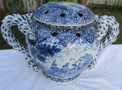 Superb Large Antique Nevers Faience Bowl / Jardiniere / Potpourri And Cover • 395£