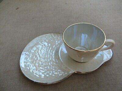 Stunning Antique Maling Pearlescent China Cup With Saucer Plate Ivory/gold • 10£