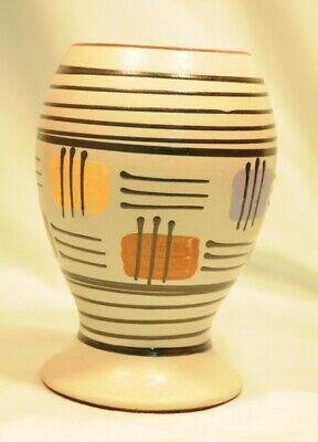 Babbacombe Pottery Vase On Turquoise & Lines Design Very Good Condition  • 8£