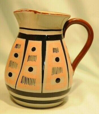 Babbacombe Pottery Milk Jug In Green/Grey With Geometric Pattern Good Condition • 8£