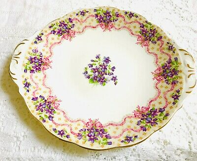 Pretty Queen Anne Vintage China Cake Plate - Pink & Purple Sweet Violets • 29£