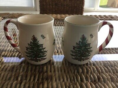 Spode Christmas Tree 🎄 Mugs With Peppermint Handle X2 Brand New • 19.99£