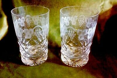 Pair Of Large Cut Glass Etched Vine Leaf Highball Glasses. • 28£