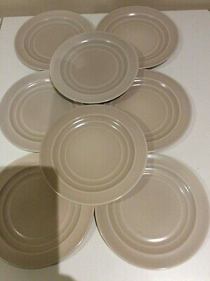 EIGHT 1950's BRANKSOME CHINA ENGLAND SIDE PLATES DUSKY PALE PINK/SEPIA • 14.99£