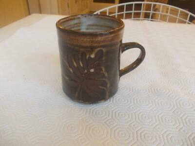 Vintage Briglin Studio Pottery Mug Decorated Leaves 3.75in Height • 4.99£