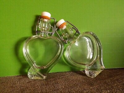 Heart Shaped Small Glass Bottles X 6, With Swinger Stopper For Airtight Seal.NEW • 14.95£