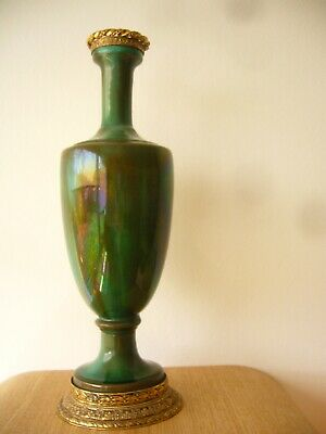 Fab French Mottled Green Gilt Metal Vase C1900 • 0.99£
