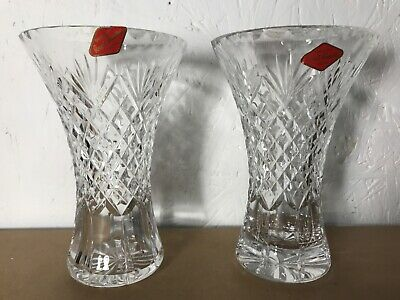 """Lovely Royal Brierley Crystal Cut Glass 7"""" Vases  • 13£"""