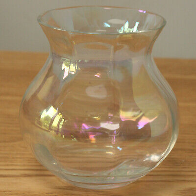 Small Iridescent Clear Glass Posy Vase • 9.99£