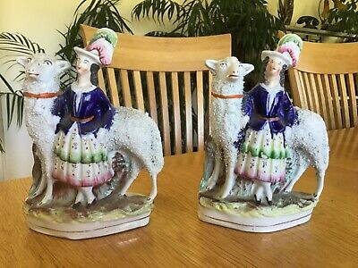 Staffordshire Figures 19th Century Antique Pair. Sheep With Figures • 15£