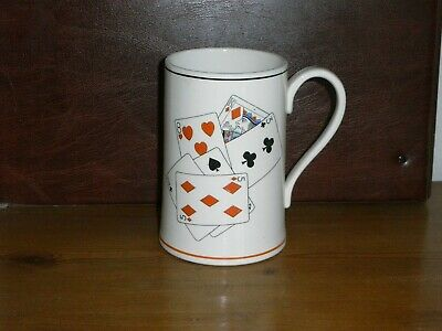 ORIGINAL GRAY'S POTTERY TANKARD - PLAYING CARDS DESIGN, PATTERN No. A8946. • 18.50£