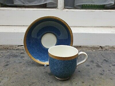 Vintage Royal Worcester England China Blue & Gold Coffee Cup & Saucer  • 14.95£
