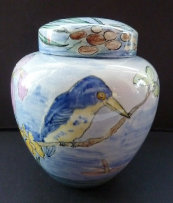 SCOTTISH POTTERY Lady Artist's Ginger Jar. Hand Painted With Kingfisher & Irises • 45£