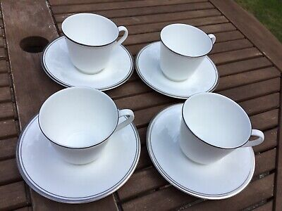 Royal Doulton Platinum Concord Cups And Saucers X 4. Height 7.5cm • 19.99£