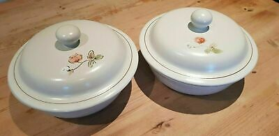 2 BOOTS DUSTY MEADOW STONEWARE LIDDED CASSEROLE / SERVING DISHES Korea • 19.99£