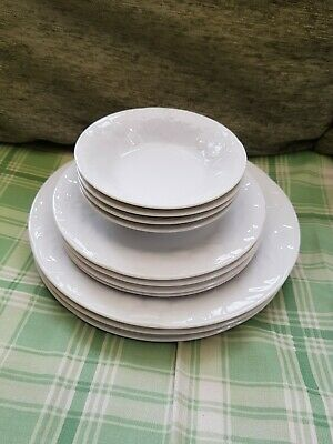 Season Fruits White Embossed Part Dinner Set - Plates Bowls Cups Saucers • 24.99£
