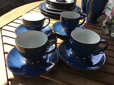 Denby Boston Espresso Cups And Saucers X 4 Height 6cm • 18.99£