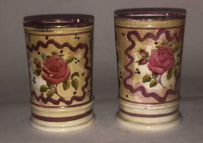 Near Pair Of Antique Gaudy Welsh 'Rose' Pattern Spill Holder Vases C 1840+ • 18.99£