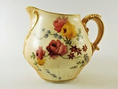 Antique Royal Worcester Jug Blush Ivory / Hand Painted Flowers Dated 1901 R205/1 • 52£