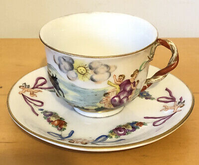 Antique Capodimonte  Cup And Saucer Handpainted ( Rare Mark) • 85£