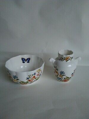 Ainsley Cottage Garden Bone China VAR-I-ETE Bowl Plus A Bud Vase • 5.50£
