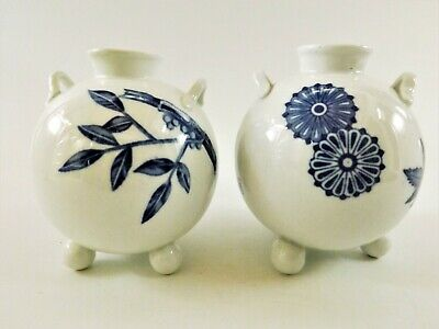 Pair Of Antique Royal Worcester Twin Handled Blue & White Vases Dated 1878 R149 • 5.50£