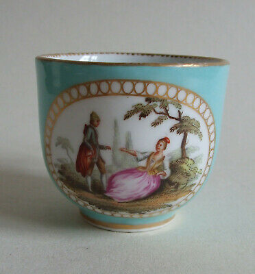 Small 19thC Meissen Coffee Cup With Turquoise Ground & Painted Vignette 5.5cm • 19.99£