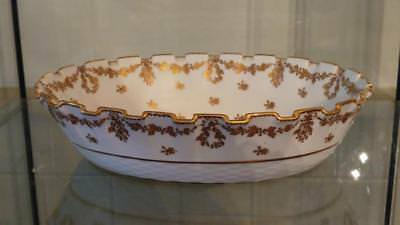 Exquisitely Hand Gilded Antique Copeland Oval Fluted Bowl C 1891+ • 34.99£