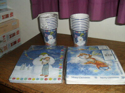 Creative Party Snowman & Snowdog Cups And Napkins + 40 Christmas Napkins - New • 14£