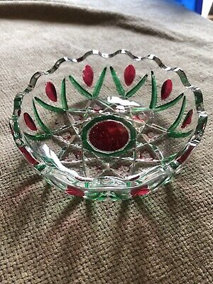 Glass Dish Bowl Green And Red  • 1.70£