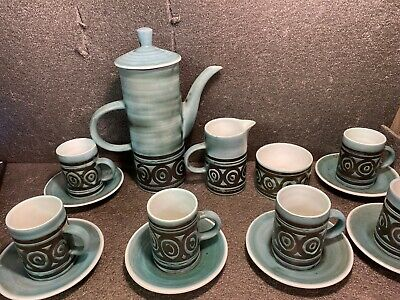 Vintage Cinque Ports Pottery Rye Tall Coffee Set , 6 Cups Etc.. • 15£