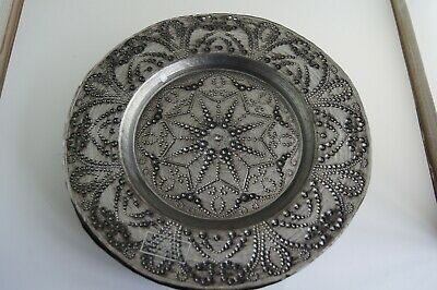 4 Silver / Grey Large Glass Plates  Beaded Hand Painted,  Turkish Or Indian • 8£