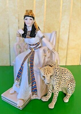 Royal Worcester Jewels Of Cleopatra Figure With Seperate Leopard Ltd Ed Perfect • 125£