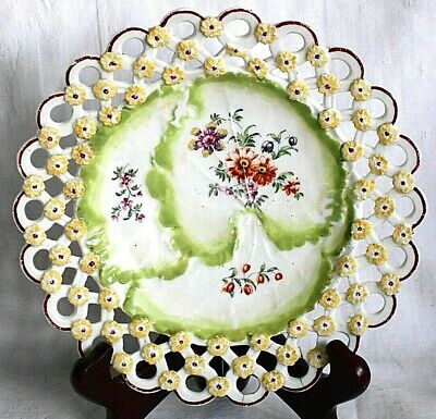 C18th Derby Hand Painted Reticulated Dessert Plate Relief Moulded Decoration • 25£