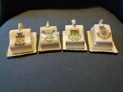 4 Vintage Miniature Crested China Cheese Dishes. Unmarked. • 8.50£