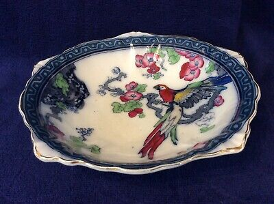 Stunning Vintage Losol Ware  Andes  Parrot And Flowers  Design Bowl  • 10£