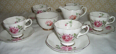 VINTAGE PORCELAIN DEMITASSE COFFEE SET *VERY PRETTY & DAINTY *PINK ROSES* 12 Pc* • 10£