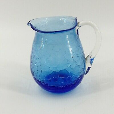 Vintage Art Glass Hand Blown Pitcher Creamer Electric Blue Crackle Clear Handle • 10.05£