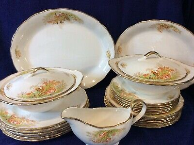 Beautiful Vintage Grindley CreamPetal Dinner Service For Six With Platters, Vgc • 58£